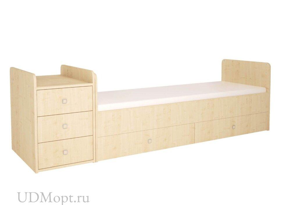 Кроватка детская Polini kids Simple 1111 с комодом, натуральный оптом и в розницу