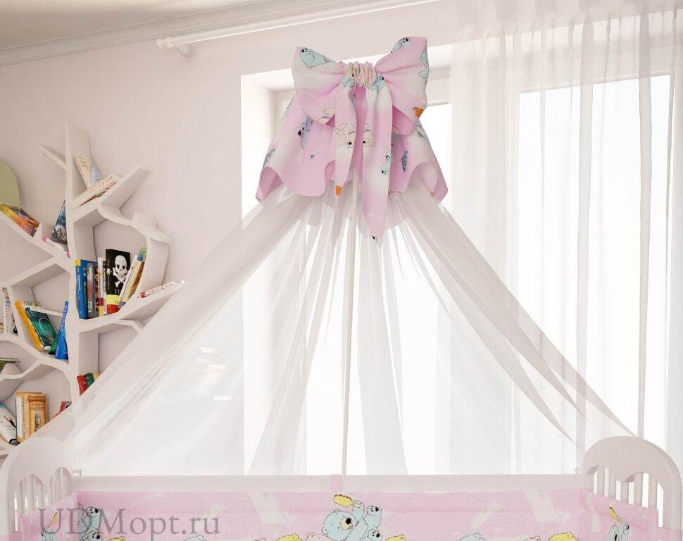"""Балдахин для комплекта постельного белья Polini kids """"Мишки"""", розовый оптом и в розницу"""
