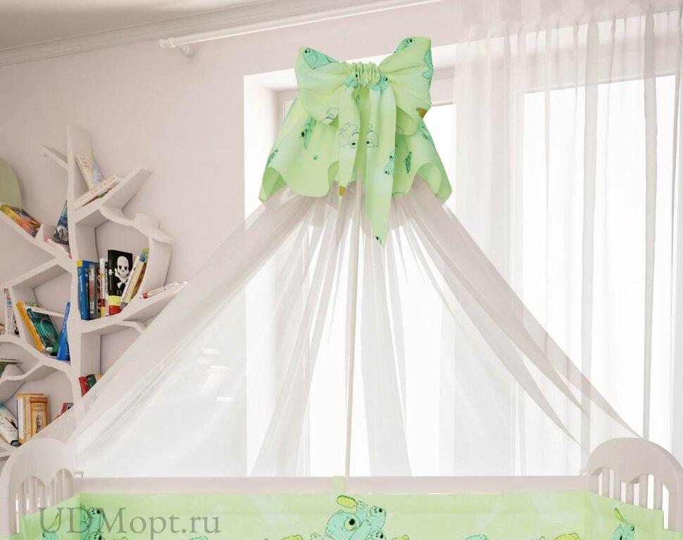 """Балдахин для комплекта постельного белья Polini kids """"Мишки"""", зеленый оптом и в розницу"""