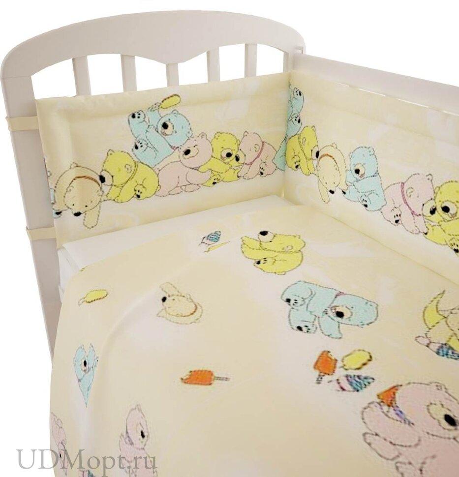 """Комплект в кроватку Фея """"Мишки"""" 6 предметов, желтый оптом и в розницу"""