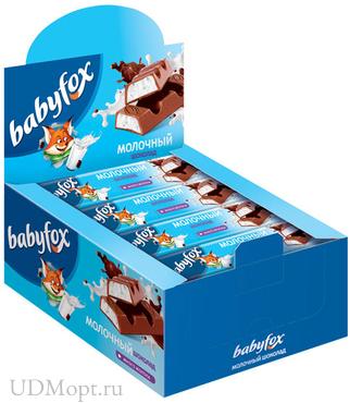 «BabyFox», шоколадный батончик с молочной начинкой, 47г оптом и в розницу