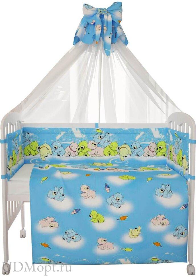 """Комплект в кроватку Фея """"Мишки"""" 7 предметов, голубой оптом и в розницу"""