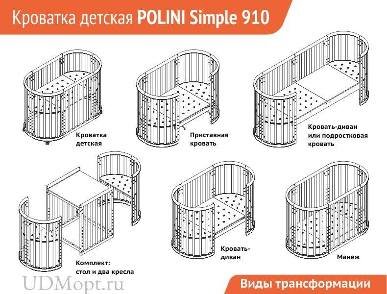 Кроватка детская Polini kids Simple 910, белый+дуб оптом и в розницу