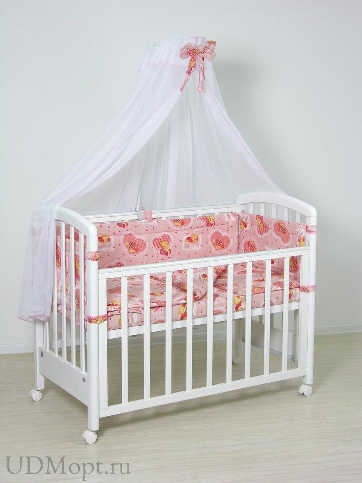 """Комплект в кроватку Фея """"Мишки"""" 7 предметов, розовый оптом и в розницу"""