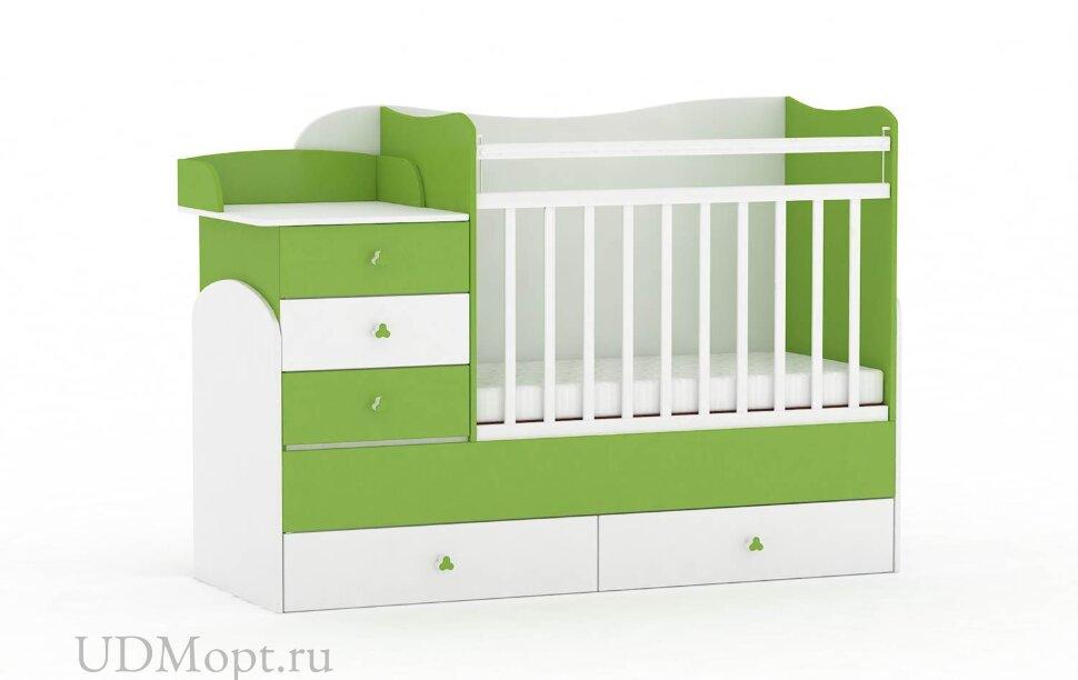 Кровать детская Фея 1400 белый-лайм оптом и в розницу