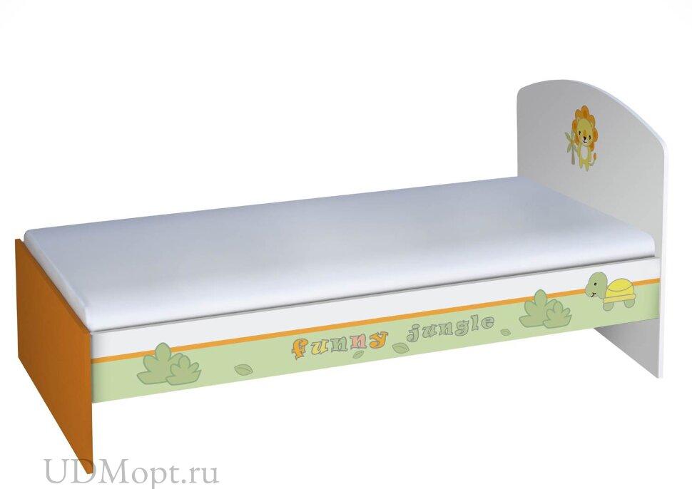 Кровать детская Polini kids Basic Джунгли 180х90 белый-оранжевый  оптом и в розницу
