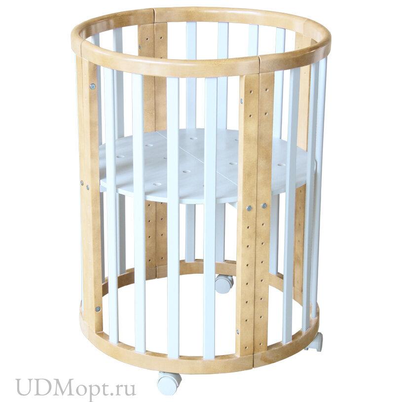 Кроватка детская Polini kids Simple 910, белый+натуральный оптом и в розницу