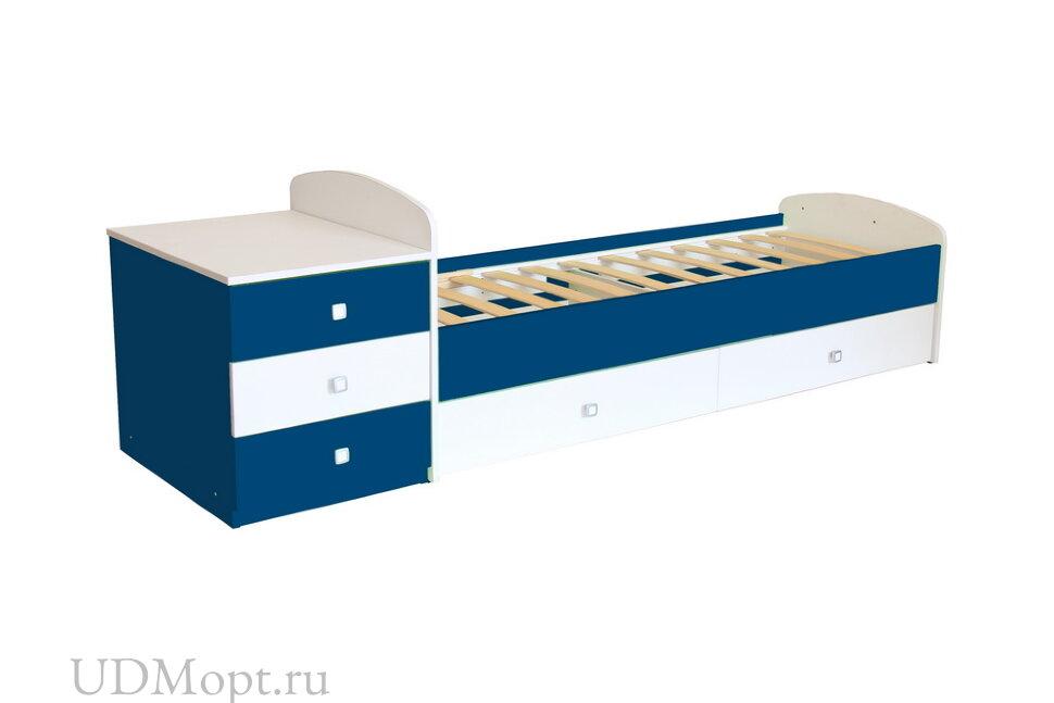 Кровать детская Фея 1400 белый-синий оптом и в розницу
