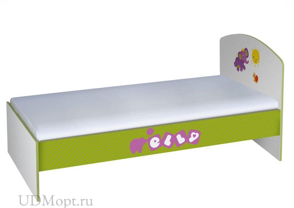 Кровать детская Polini kids Basic Elly 180х90 белый-зеленый  оптом и в розницу