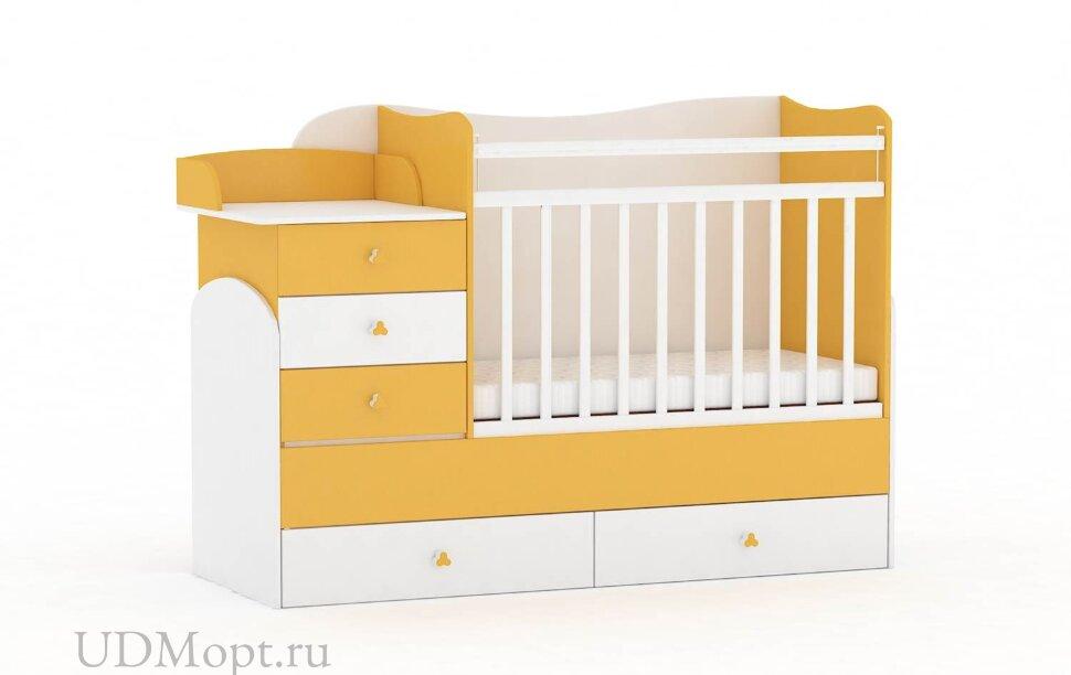Кровать детская Фея 1400 белый-солнечный оптом и в розницу