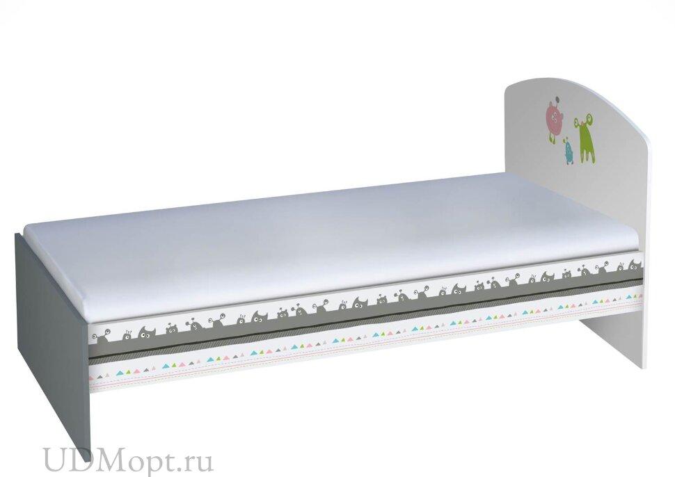 Кровать детская Polini kids Basic Монстрики 180х90 белый-серый  оптом и в розницу