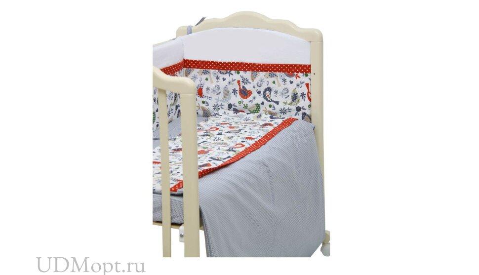 Борт Polini kids Кантри в кроватку 120х60, красный, со съемным чехлом оптом и в розницу