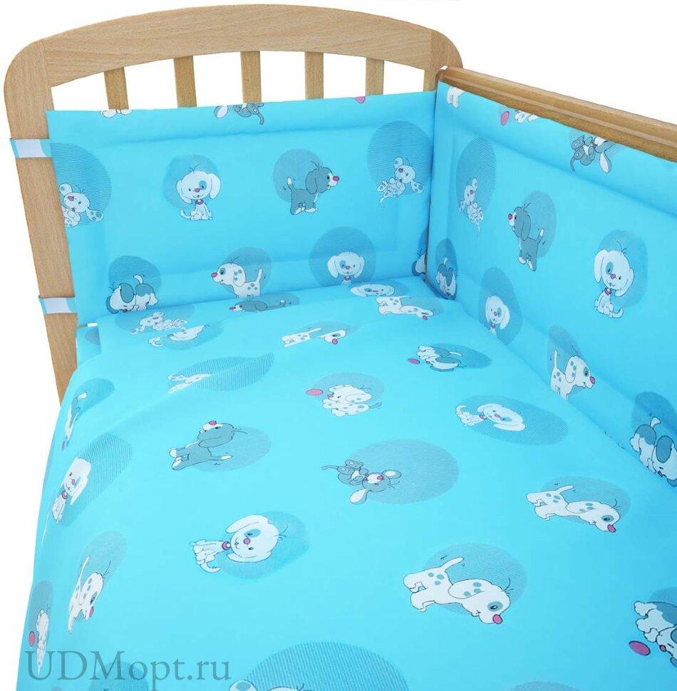 """Комплект в кроватку Фея """"Наши друзья"""" 6 предметов, голубой оптом и в розницу"""
