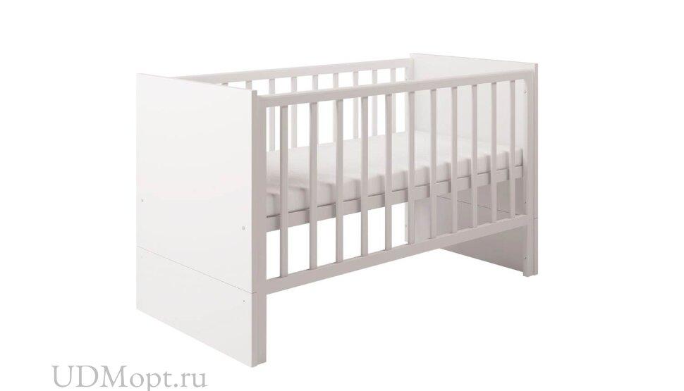 Кровать детская Polini Classic 1414 с боковыми ограждениями, белый оптом и в розницу