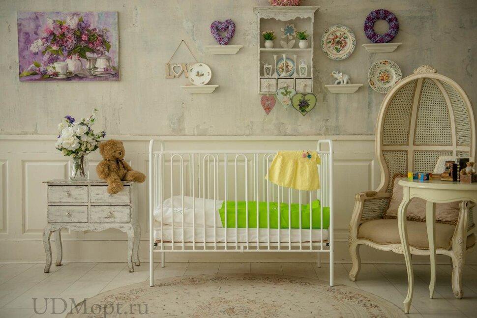 Кроватка детская Polini kids Vintage 110 металлическая, серебро оптом и в розницу