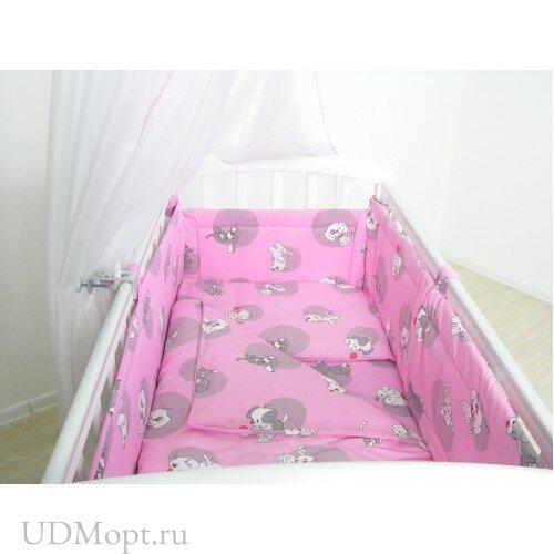 """Комплект в кроватку Фея """"Наши друзья"""" 6 предметов, розовый оптом и в розницу"""