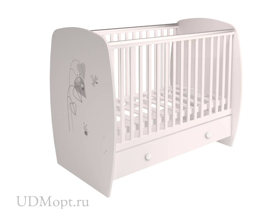 Кровать детская Polini kids French 710, Amis, с ящиком, белый оптом и в розницу