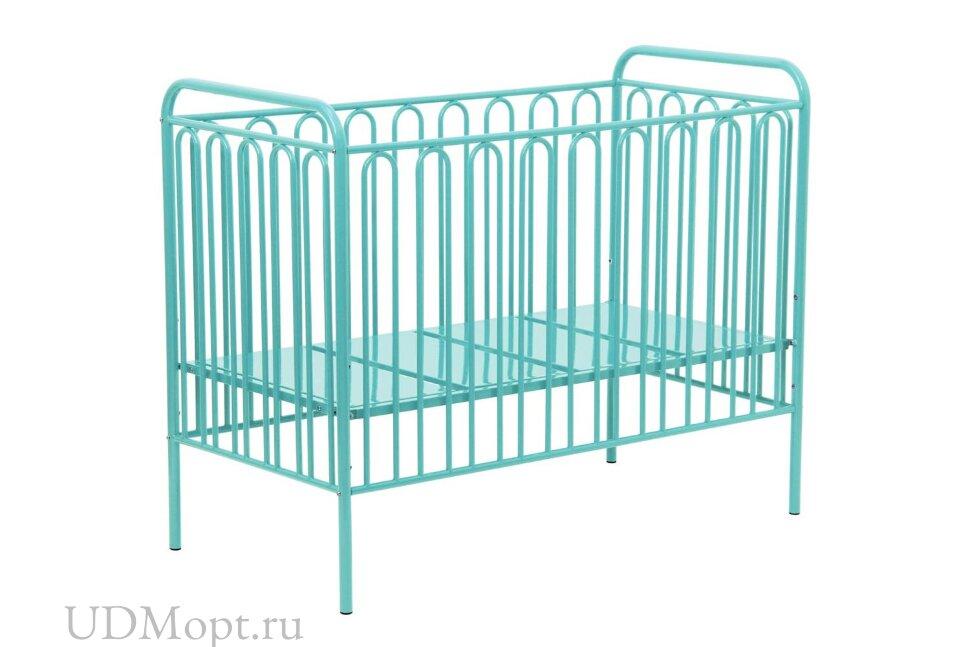 Кроватка детская Polini kids Vintage 150 металлическая, бирюзовый оптом и в розницу