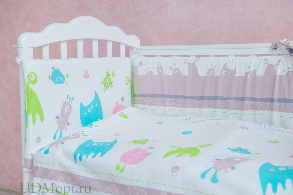 "Борт Polini kids ""Монстрики"" в кроватку 120х60, со съемным чехлом оптом и в розницу"