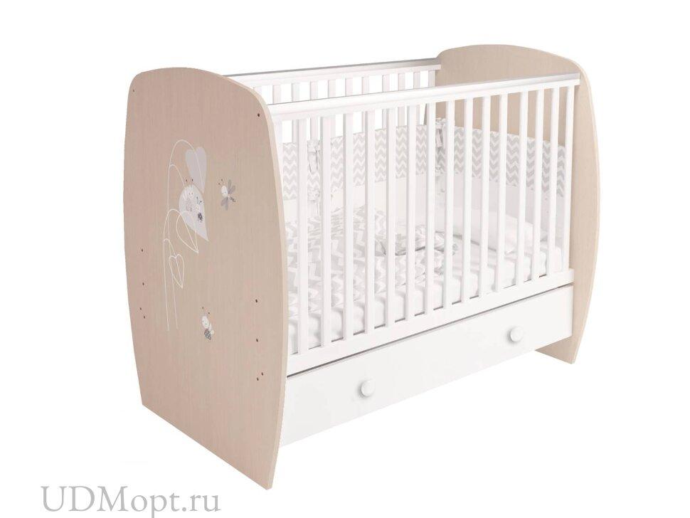 Кровать детская Polini kids French 710, Amis, с ящиком, белый-дуб пастельный оптом и в розницу