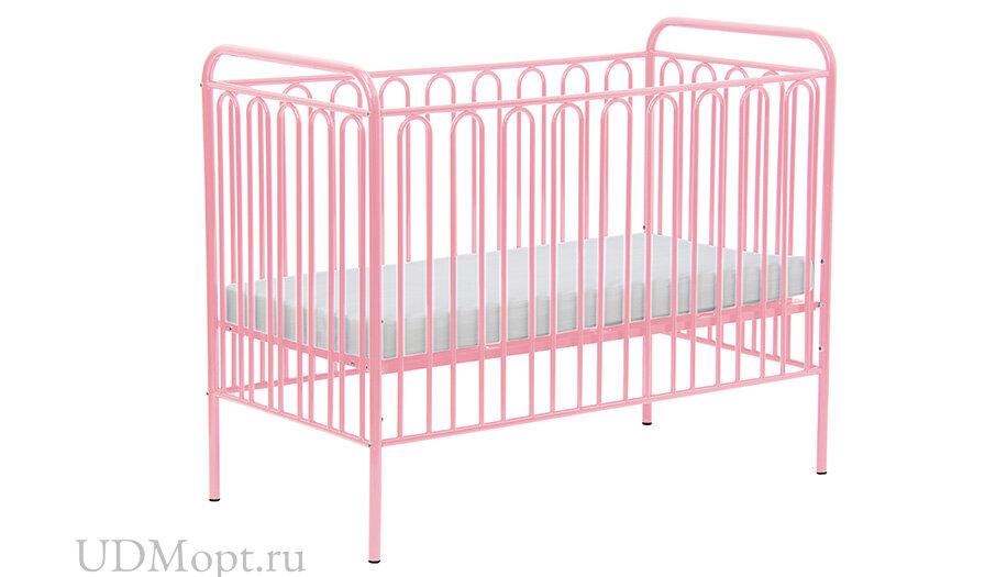 Кроватка детская Polini kids Vintage 150 металлическая, розовый оптом и в розницу