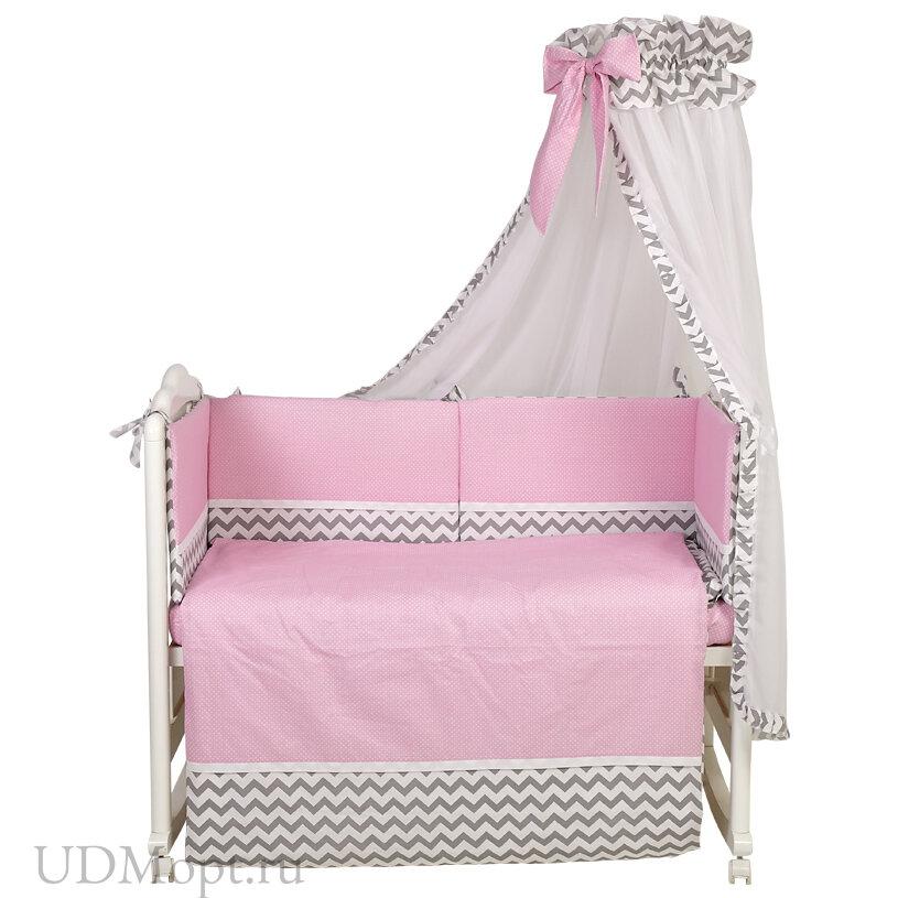 Комплект в кроватку Polini kids Зигзаг 7 предметов, 120х60, серо-розовый оптом и в розницу