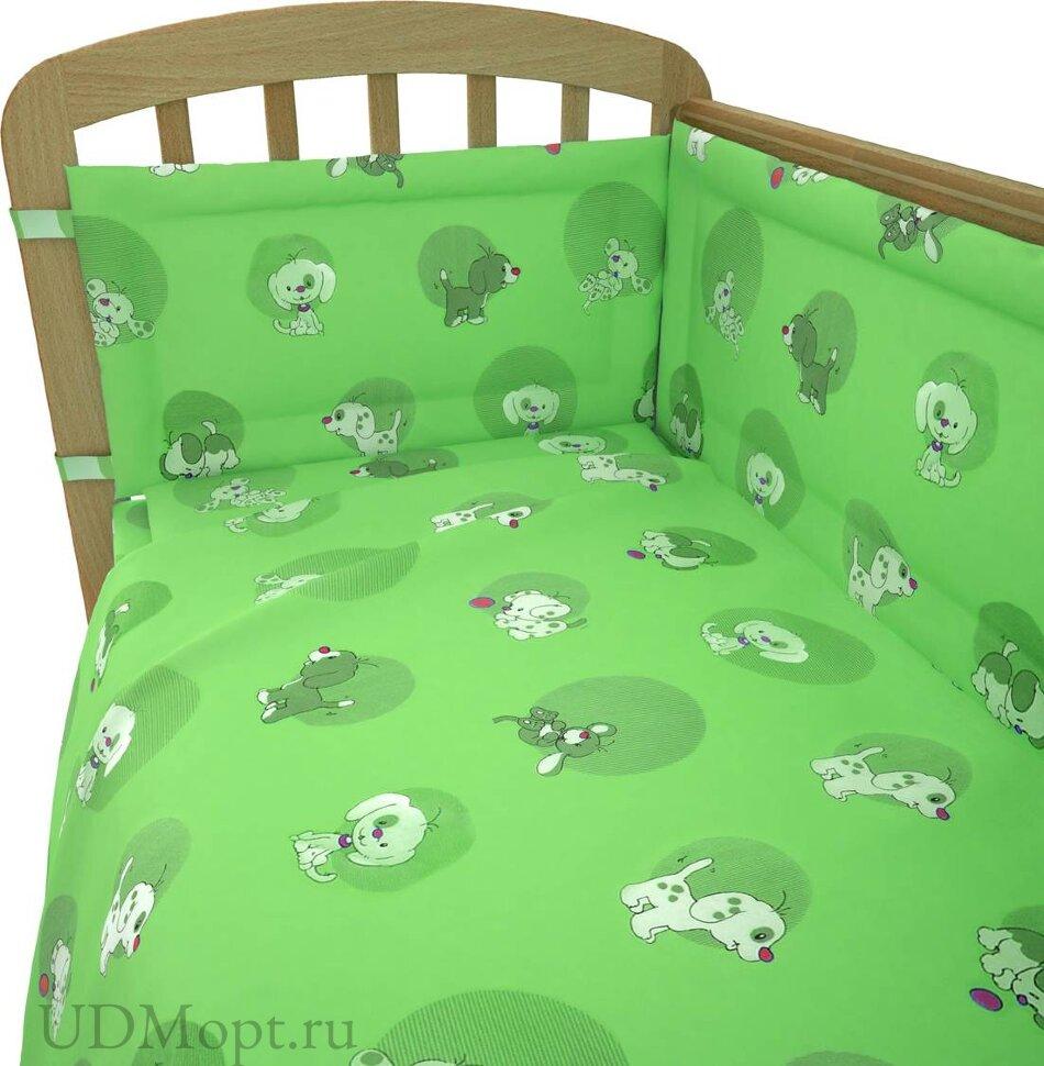 """Комплект в кроватку Фея """"Наши друзья"""" 6 предметов, зеленый оптом и в розницу"""