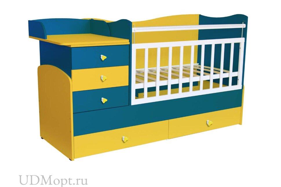 Кровать детская Фея 1400 солнечный синий оптом и в розницу