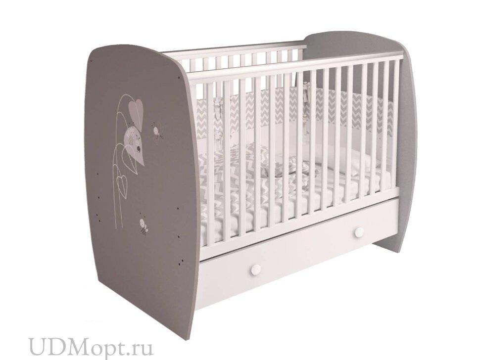 Кровать детская Polini kids French 710, Amis, с ящиком, белый-серый оптом и в розницу