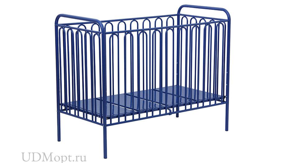 Кроватка детская Polini kids Vintage 150 металлическая, синий оптом и в розницу