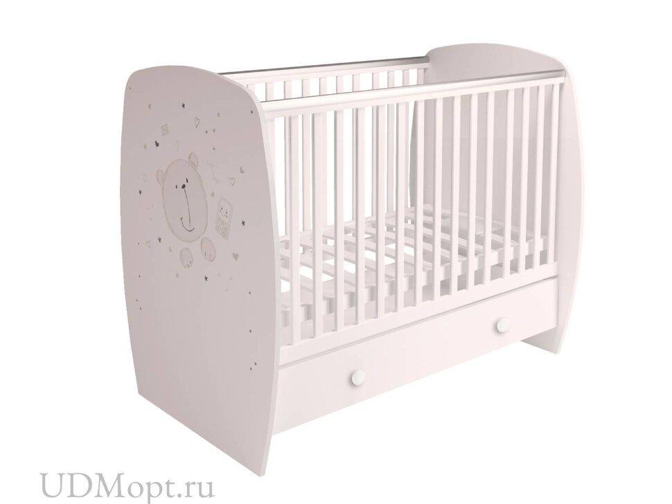 Кровать детская Polini kids French 710, Teddy, с ящиком, белый оптом и в розницу