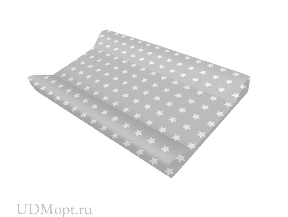 Доска пеленальная для комода с ванночкой Polini kids Basic 3275, Звезды, белый-серый оптом и в розницу