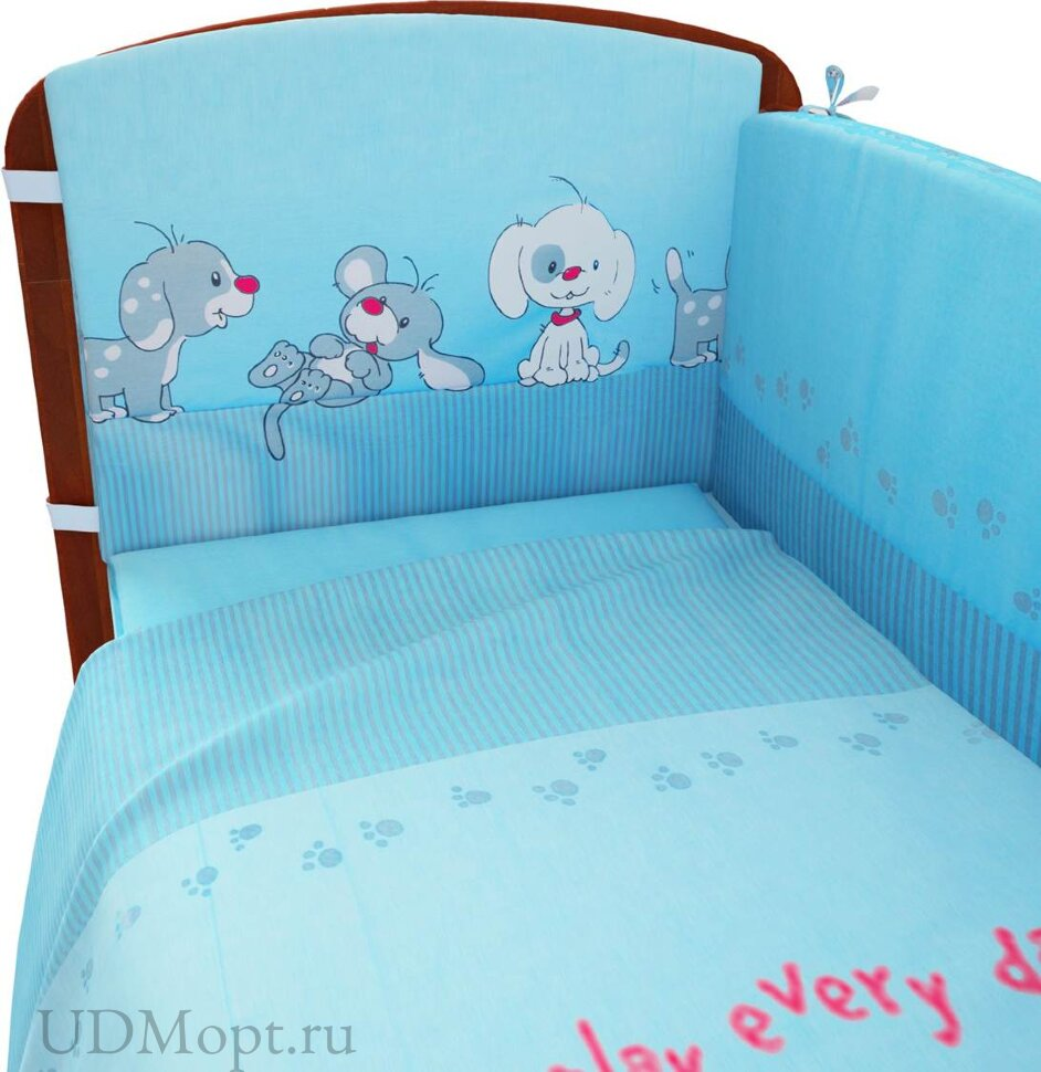 """Комплект в кроватку Фея """"Веселая игра"""" 6 предметов, голубой оптом и в розницу"""