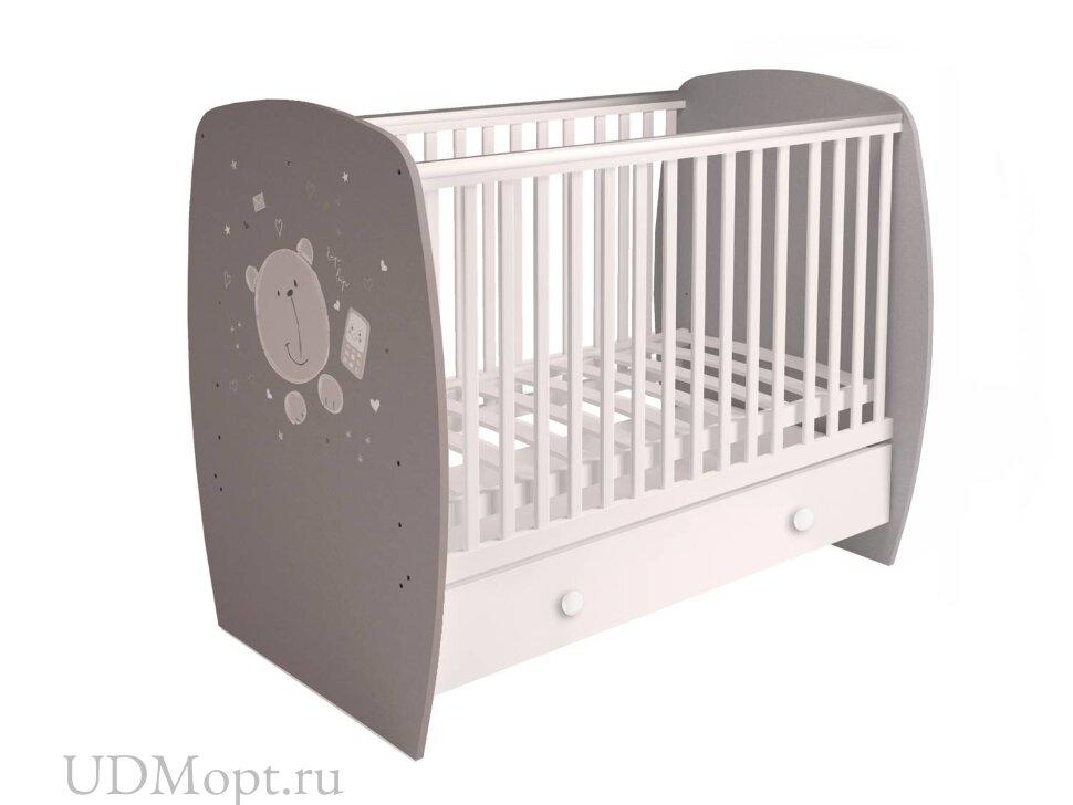Кровать детская Polini kids French 710, Teddy, с ящиком, белый-серый оптом и в розницу