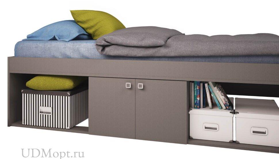 Кровать детская Polini kids Simple 3000 Н с нишами, серый оптом и в розницу