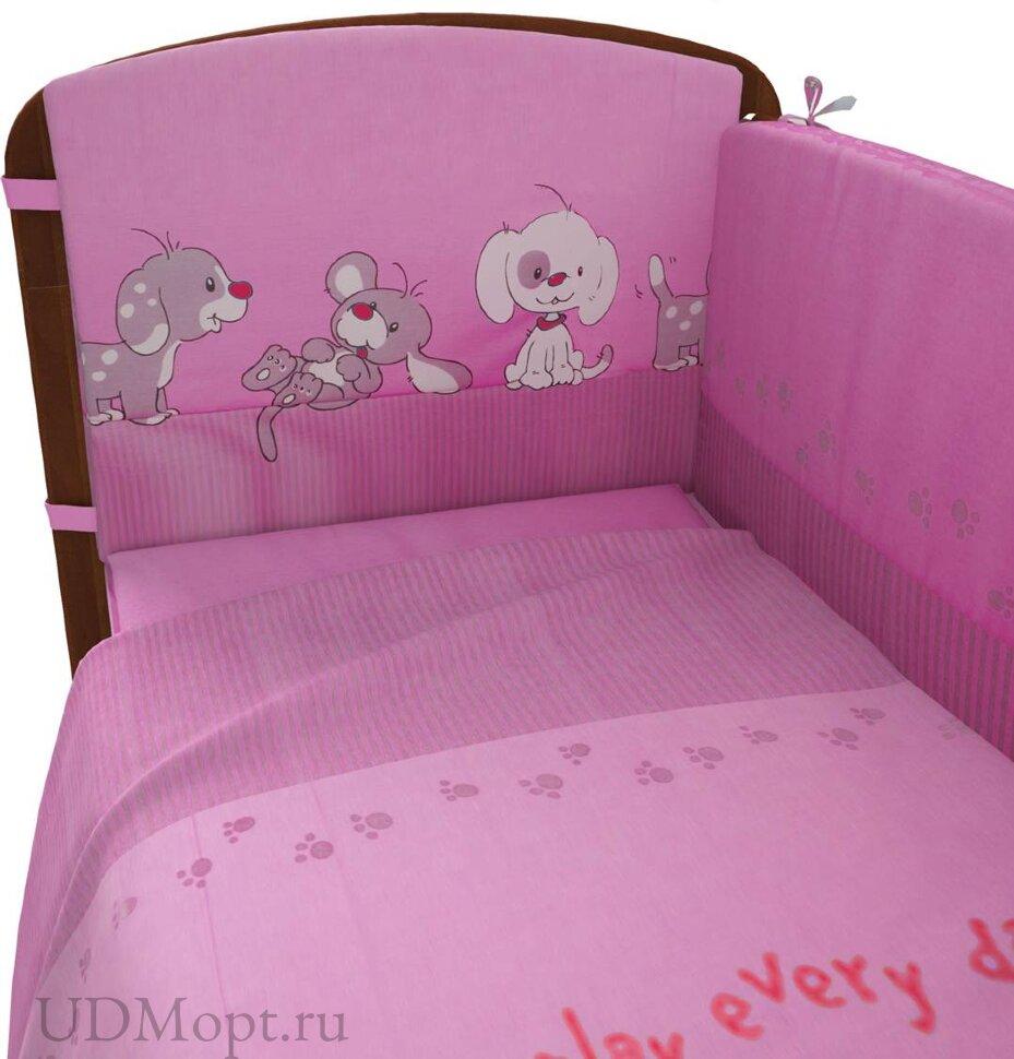 """Комплект в кроватку Фея """"Веселая игра"""" 6 предметов, розовый оптом и в розницу"""