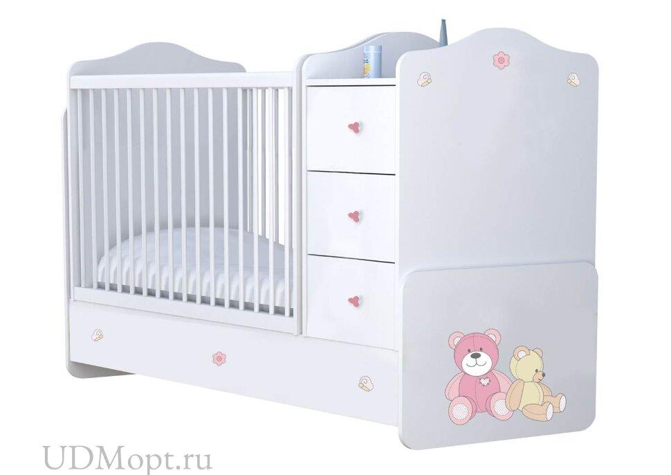 Кроватка детская Polini kids  Плюшевые Мишки с комодом, белый-розовый оптом и в розницу