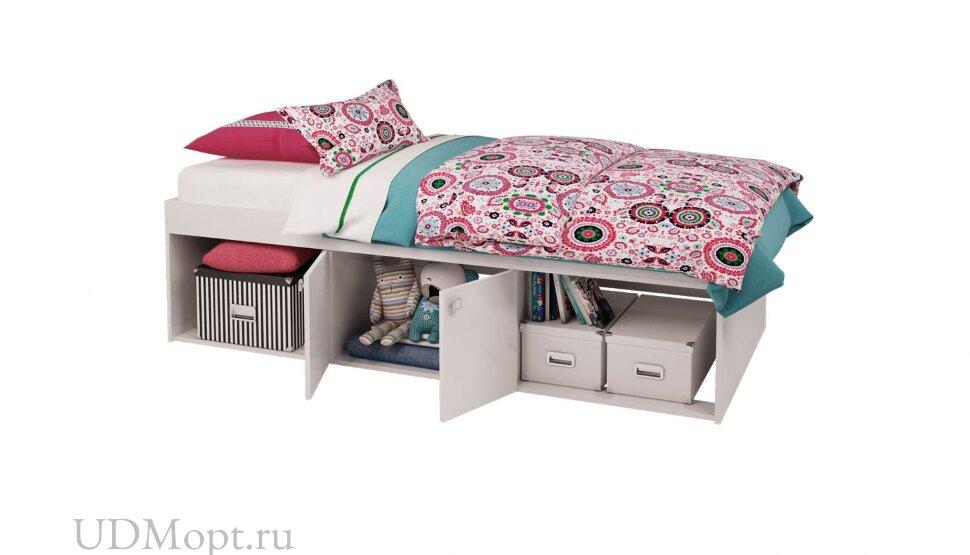 Кровать детская Polini kids Simple 3000 Н с нишами, белый оптом и в розницу
