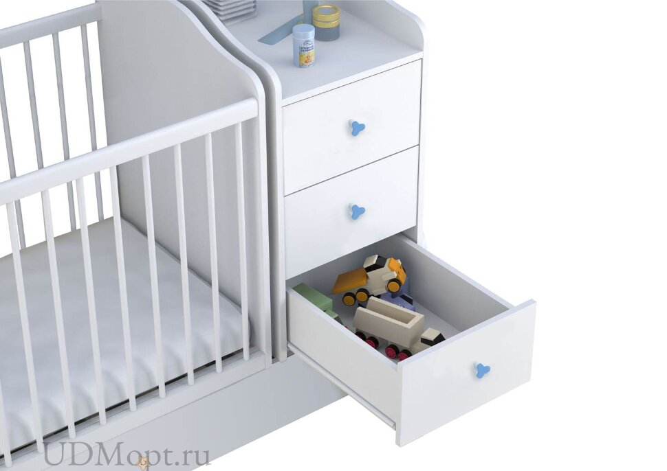 Кроватка детская Polini kids Плюшевые Мишки с комодом, белый-синий  оптом и в розницу