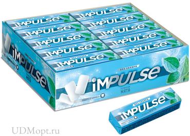 «Impulse», жевательная резинка со вкусом «Мята», без сахара, 14г оптом и в розницу