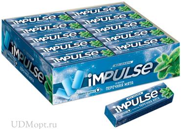 «Impulse», жевательная резинка со вкусом «Перечная мята», без сахара, 14г оптом и в розницу