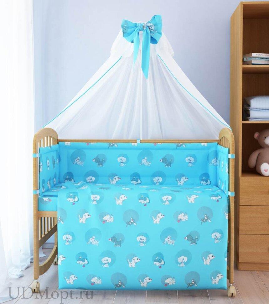 """Комплект в кроватку """"Наши друзья"""" 7 предметов, голубой  оптом и в розницу"""