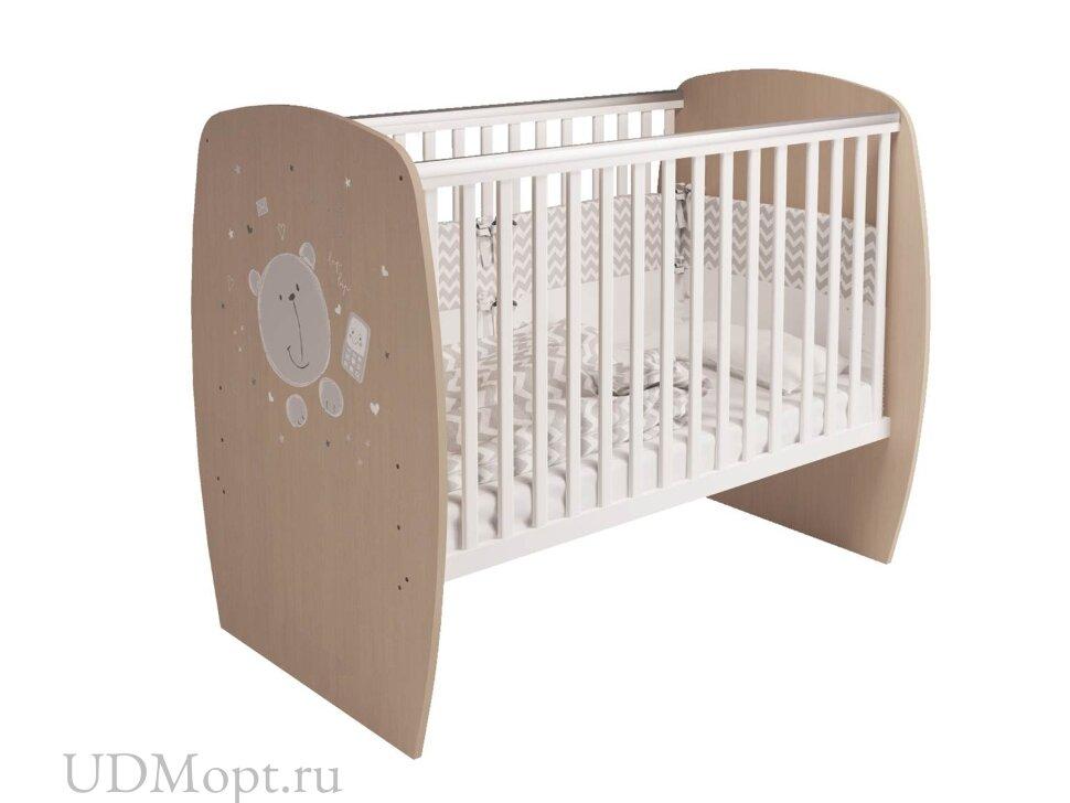 Кровать детская Polini kids French 700, Teddy, белый-дуб пастельный оптом и в розницу