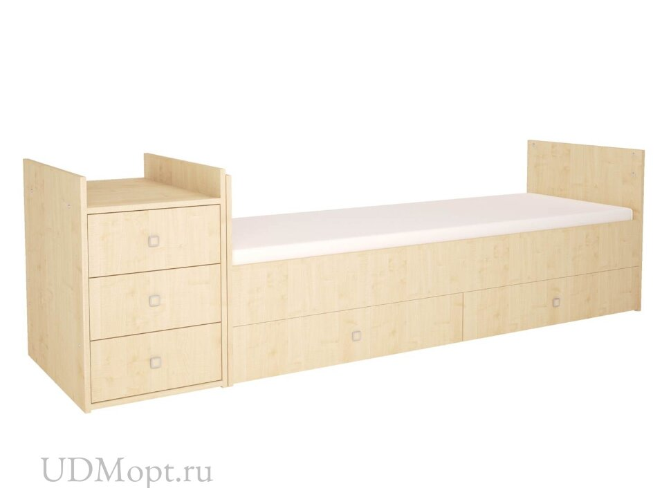 Кроватка детская Polini kids Simple 1000 с комодом, натуральный оптом и в розницу