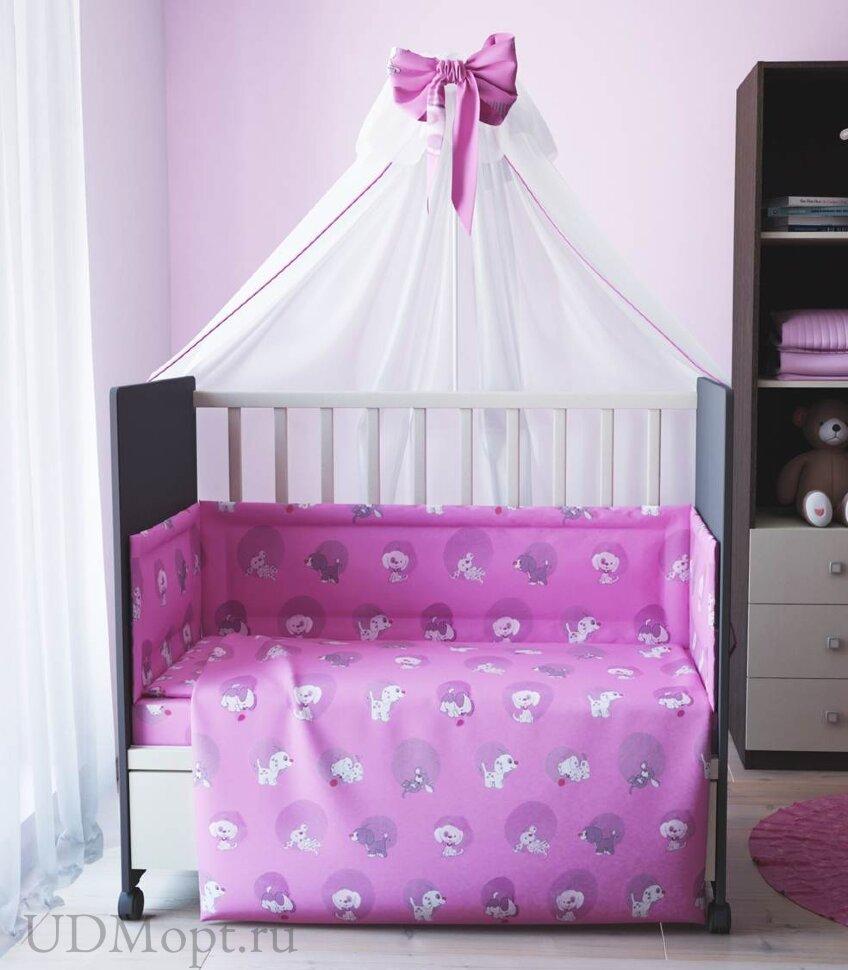 """Комплект в кроватку """"Наши друзья"""" 7 предметов, розовый  оптом и в розницу"""