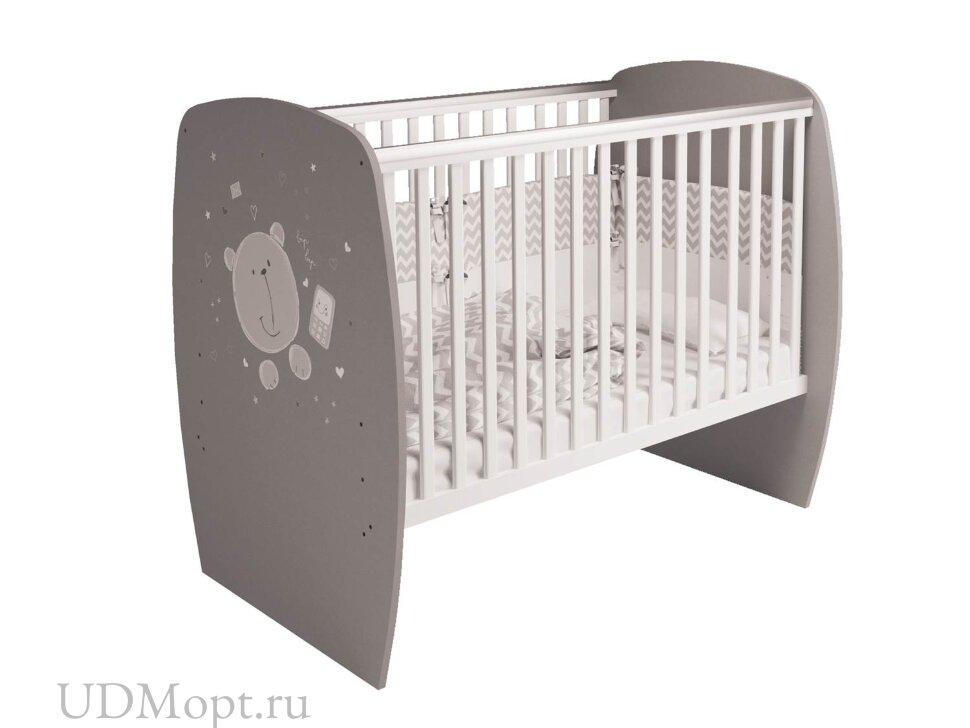 Кровать детская Polini kids French 700, Teddy, белый-серый оптом и в розницу