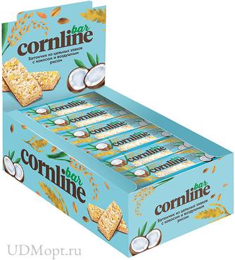 Батончик Cornline из цельных злаков с кокосом и воздушным рисом, 30г оптом и в розницу