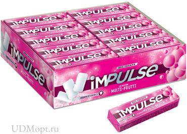 «Impulse», жевательная резинка со вкусом Multi-Frutti, без сахара, 14г оптом и в розницу