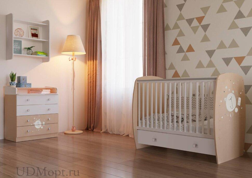 Кровать детская Polini kids French 710, Teddy, с ящиком, белый-дуб пастельный оптом и в розницу
