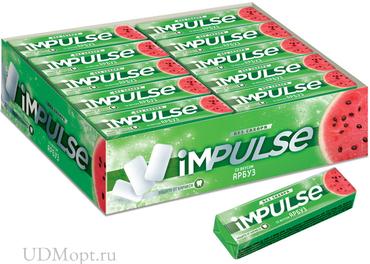 «Impulse», жевательная резинка со вкусом «Арбуз», без сахара, 14г оптом и в розницу